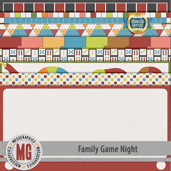 Family Game Night SLF Papers Digital Art - Digital Scrapbooking Kits
