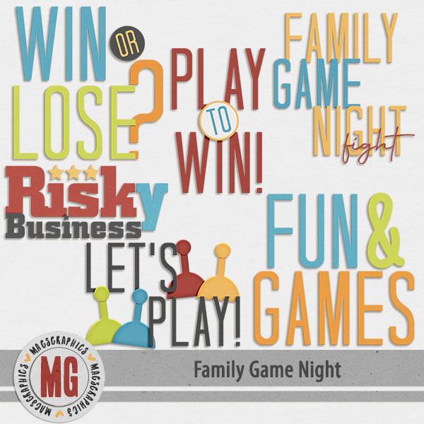 Family Game Night Word Art Digital Art - Digital Scrapbooking Kits