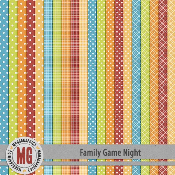 Family Game Night Extra Papers Digital Art - Digital Scrapbooking Kits