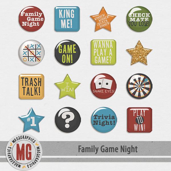 Family Game Night Flair Digital Art - Digital Scrapbooking Kits