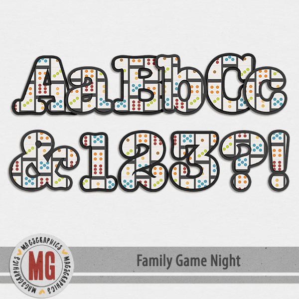 Family Game Night Alpha Digital Art - Digital Scrapbooking Kits