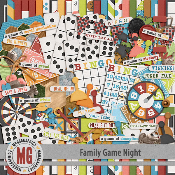 Family Game Night Kit Digital Art - Digital Scrapbooking Kits