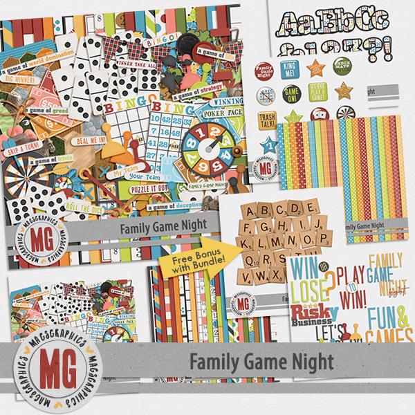Family Game Night Bundle Digital Art - Digital Scrapbooking Kits