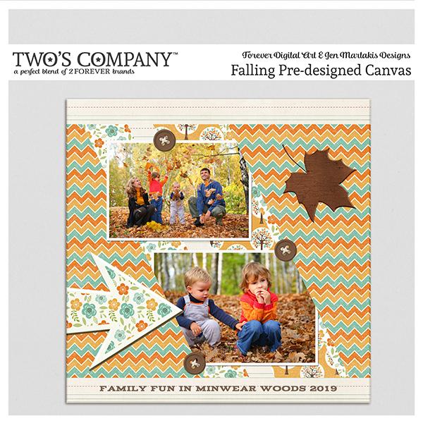 Falling Pre-designed Canvas Digital Art - Digital Scrapbooking Kits