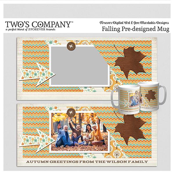 Falling Pre-designed Mug Digital Art - Digital Scrapbooking Kits