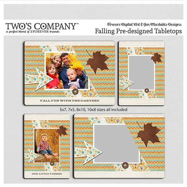 Falling Pre-designed Tabletops Digital Art - Digital Scrapbooking Kits