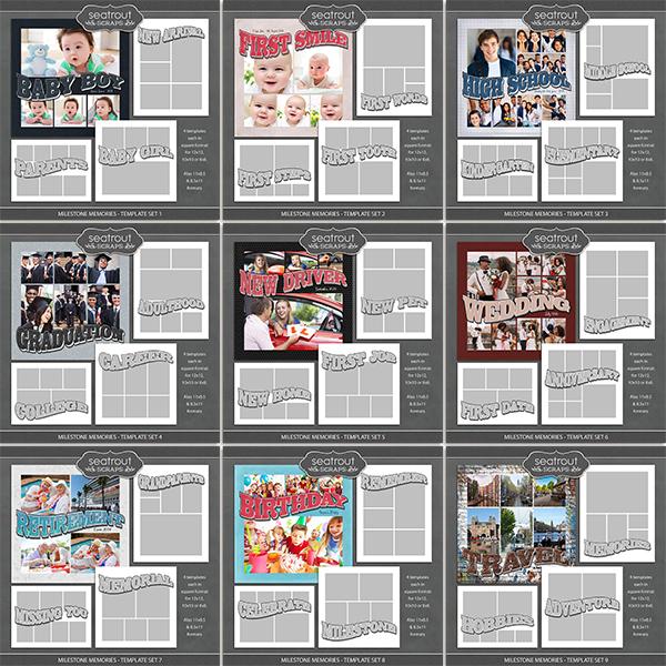 Milestone Memories Template Bundle Digital Art - Digital Scrapbooking Kits