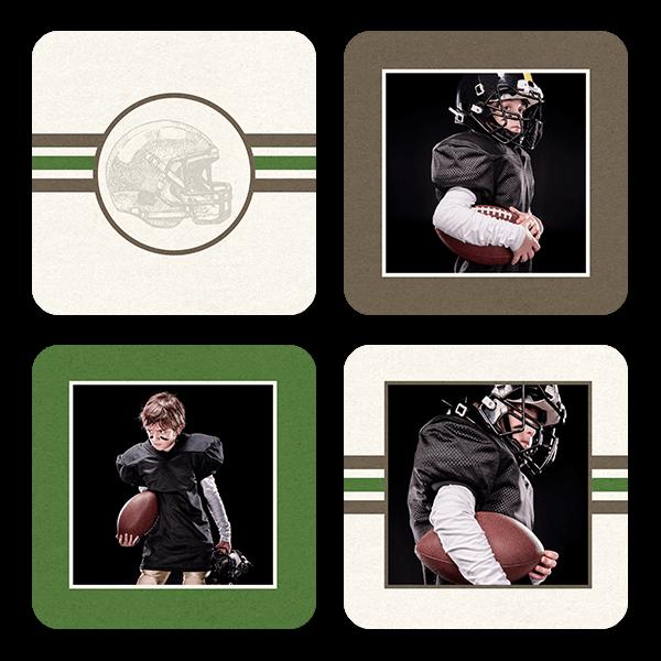 Football Stripes Coasters Coaster Set