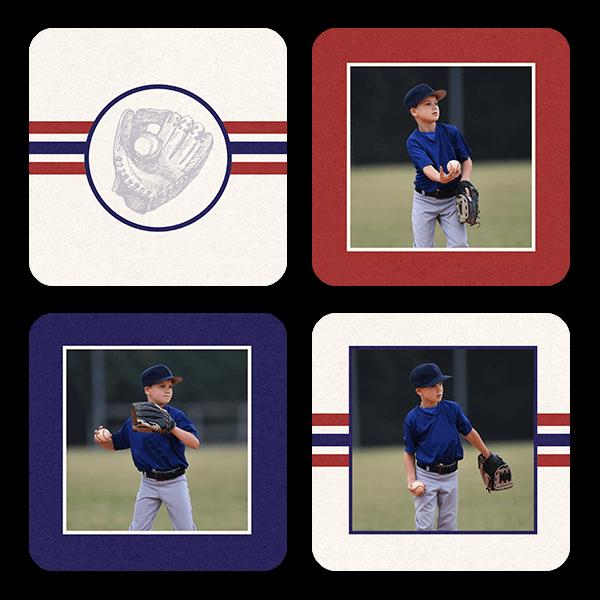 Baseball Stripes Coasters Coaster Set