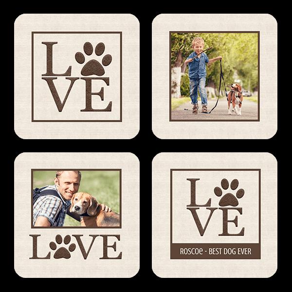 Paw Print Love Coasters Coaster Set