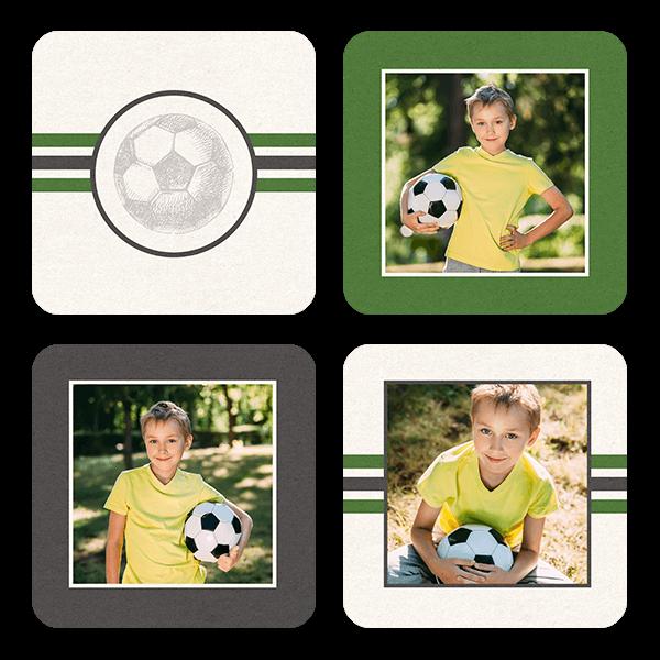 Soccer Stripes Coasters Coaster Set