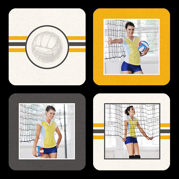 Volleyball Stripes Coasters Coaster Set