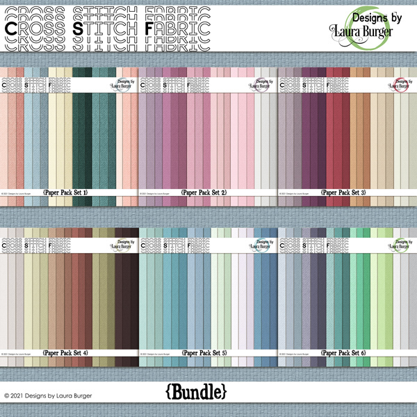 Cross Stitch Papers Bundle Digital Art - Digital Scrapbooking Kits