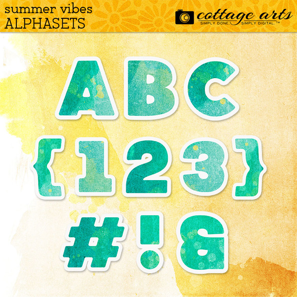 Summer Vibes AlphaSet Digital Art - Digital Scrapbooking Kits