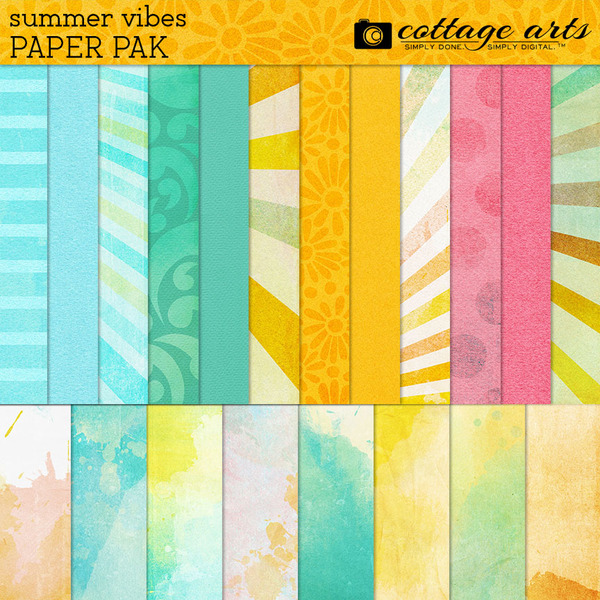 Summer Vibes Paper Pak Digital Art - Digital Scrapbooking Kits