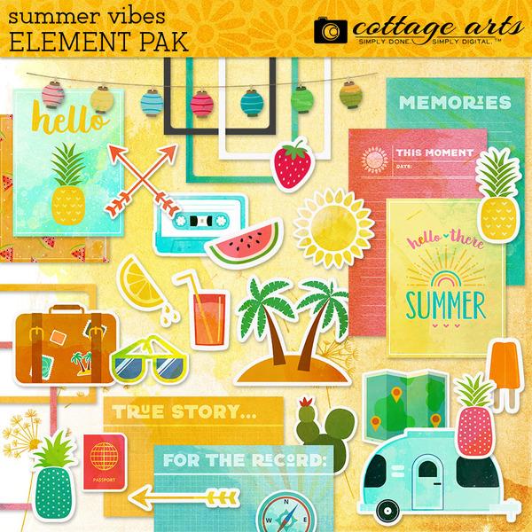 Summer Vibes Element Pak Digital Art - Digital Scrapbooking Kits