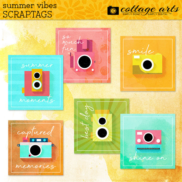 Summer Vibes Scrap.Tags Digital Art - Digital Scrapbooking Kits