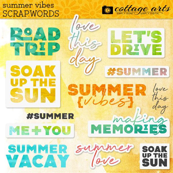 Summer Vibes Scrap.Words Digital Art - Digital Scrapbooking Kits