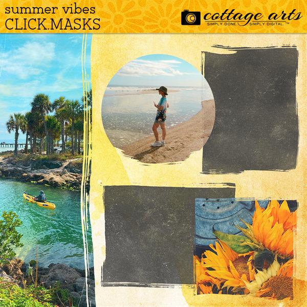 Summer Vibes Click.Masks Digital Art - Digital Scrapbooking Kits