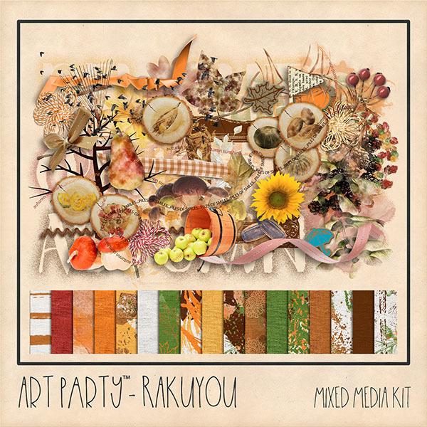 Rakuyou Mixed Media Kit Digital Art - Digital Scrapbooking Kits