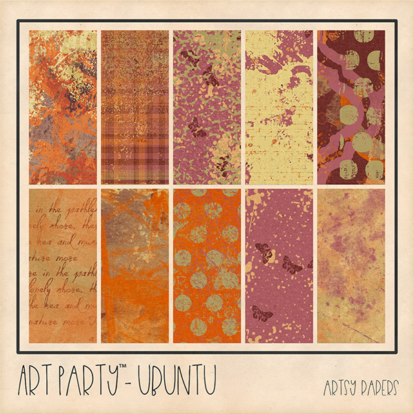 Ubuntu Artsy Papers Digital Art - Digital Scrapbooking Kits