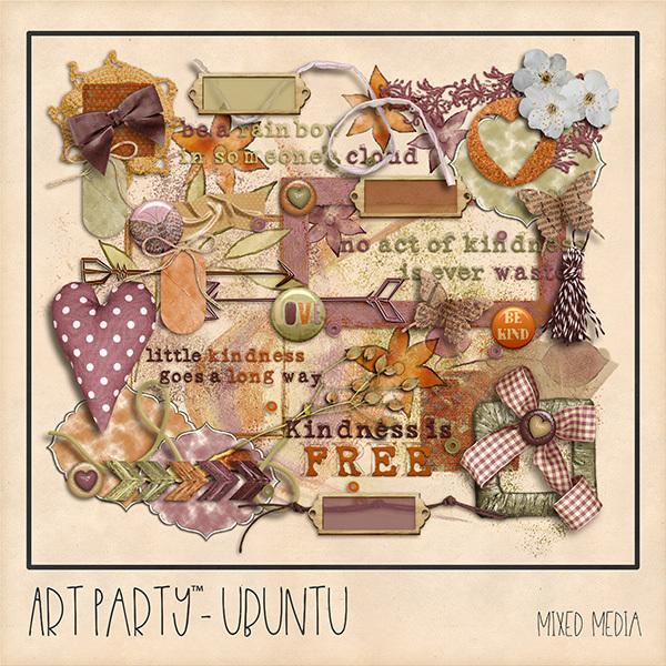 Ubuntu Mixed Media Embellishments Digital Art - Digital Scrapbooking Kits
