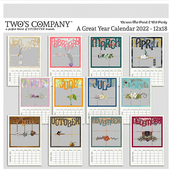 A Great Year Calendar 2022 - 12x18 Digital Art - Digital Scrapbooking Kits