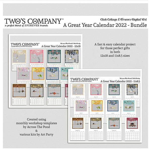 A Great Year Calendar 2022 - Bundle Digital Art - Digital Scrapbooking Kits