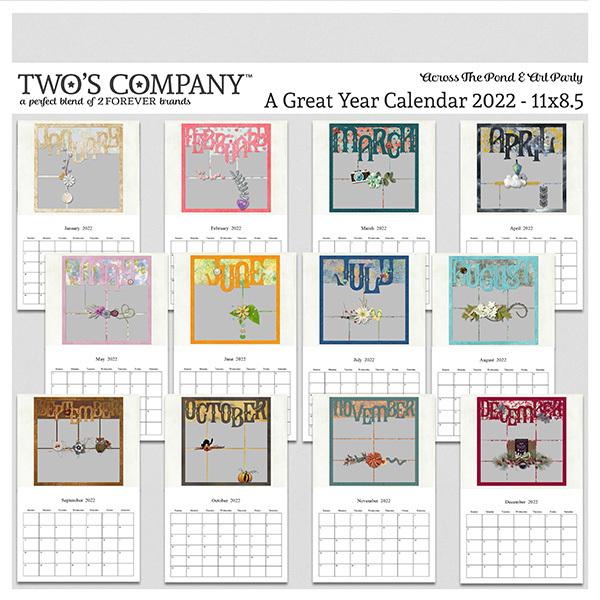 A Great Year Calendar 2022 - 11x8.5 Digital Art - Digital Scrapbooking Kits