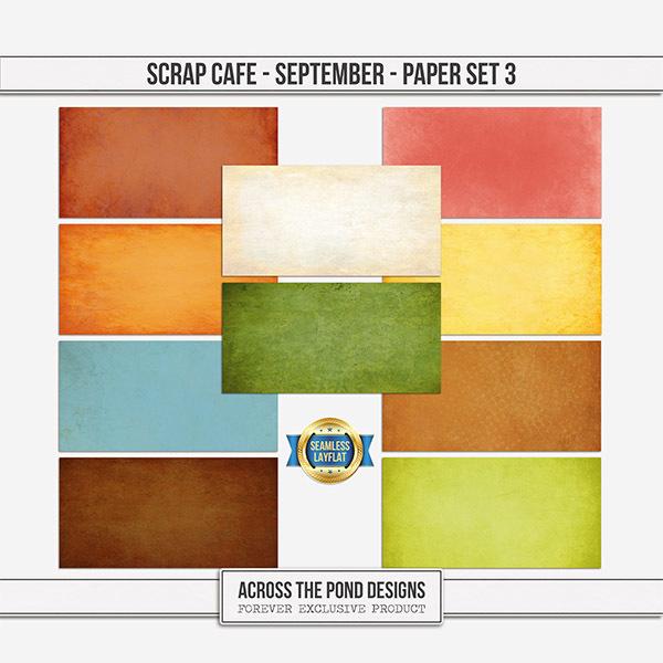 Scrap Cafe - September 2021 - Paper Set 3 Digital Art - Digital Scrapbooking Kits