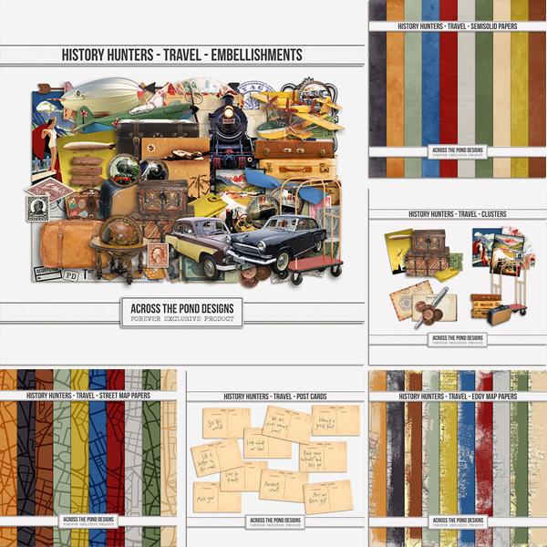History Hunters - Travel - Bundle Digital Art - Digital Scrapbooking Kits