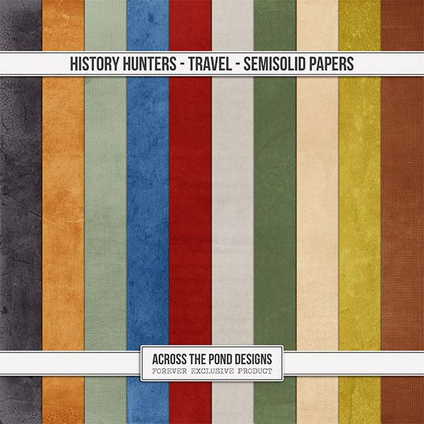 History Hunters - Travel - Semi-Solid Papers Digital Art - Digital Scrapbooking Kits