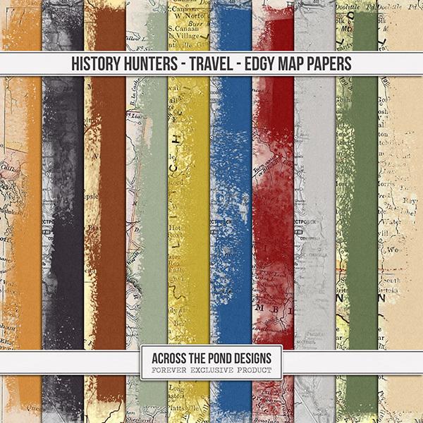 History Hunters - Travel - Edgy Map Papers Digital Art - Digital Scrapbooking Kits