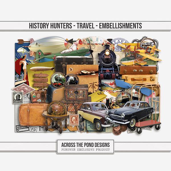 History Hunters - Travel - Embellishments Digital Art - Digital Scrapbooking Kits