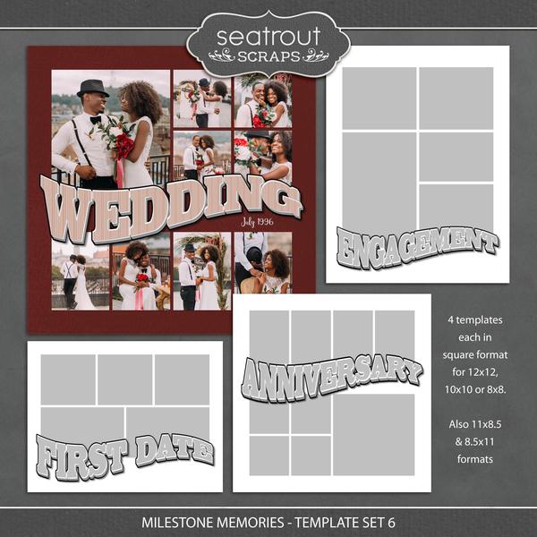 Milestone Memories Template Set 6 Digital Art - Digital Scrapbooking Kits