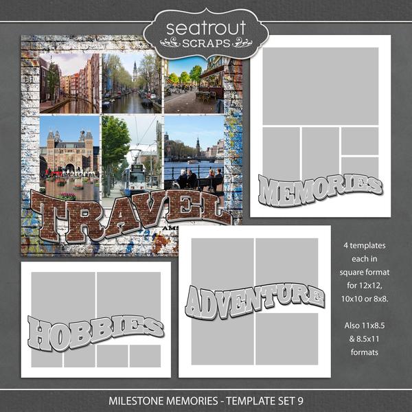 Milestone Memories Template Set 9 Digital Art - Digital Scrapbooking Kits