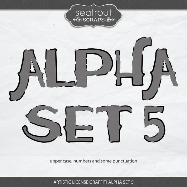 Artistic License Graffiti Alpha Set 5 Digital Art - Digital Scrapbooking Kits
