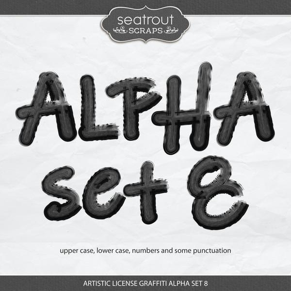 Artistic License Graffiti Alpha Set 8 Digital Art - Digital Scrapbooking Kits