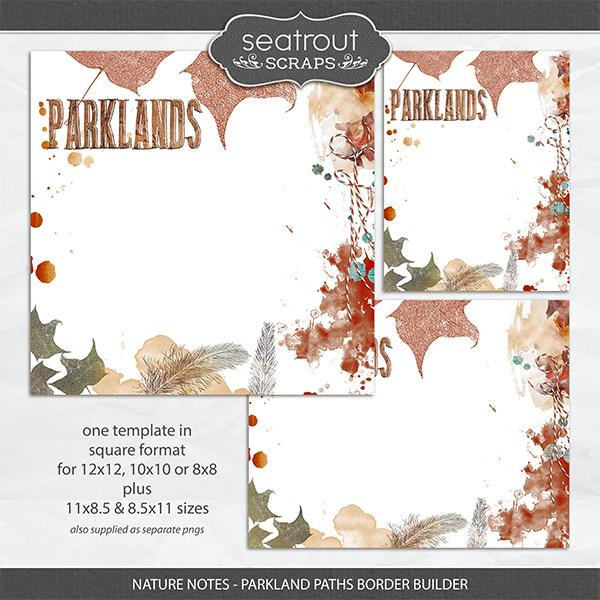 Nature Notes - Parkland Paths Border Builder Digital Art - Digital Scrapbooking Kits