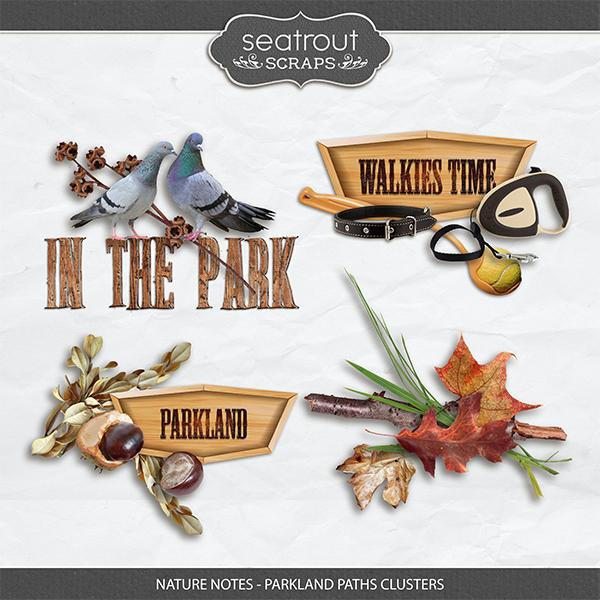 Nature Notes - Parkland Paths Clusters Digital Art - Digital Scrapbooking Kits