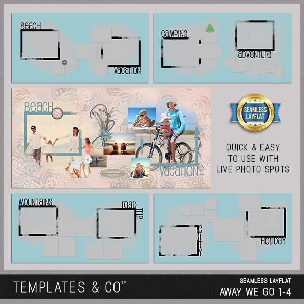 Seamless Layflat Away We Go 1-4 Digital Art - Digital Scrapbooking Kits