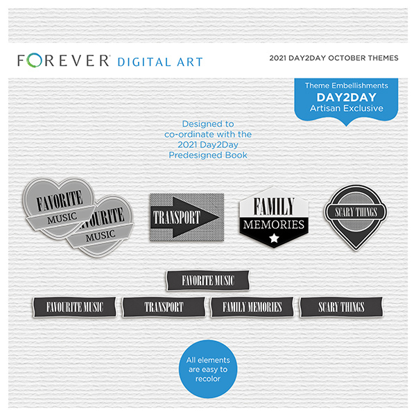 2021 Day2Day October Themes Digital Art - Digital Scrapbooking Kits
