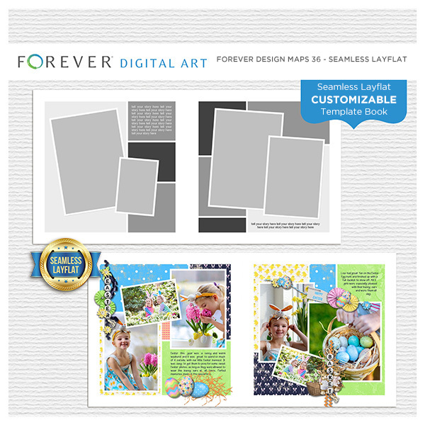 Forever Design Maps 36 - Seamless Layflat Digital Art - Digital Scrapbooking Kits