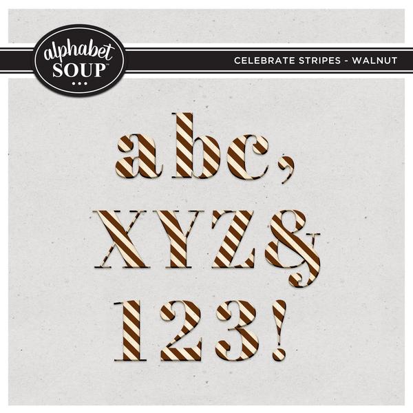 Celebrate Stripes Alpha - Walnut Digital Art - Digital Scrapbooking Kits