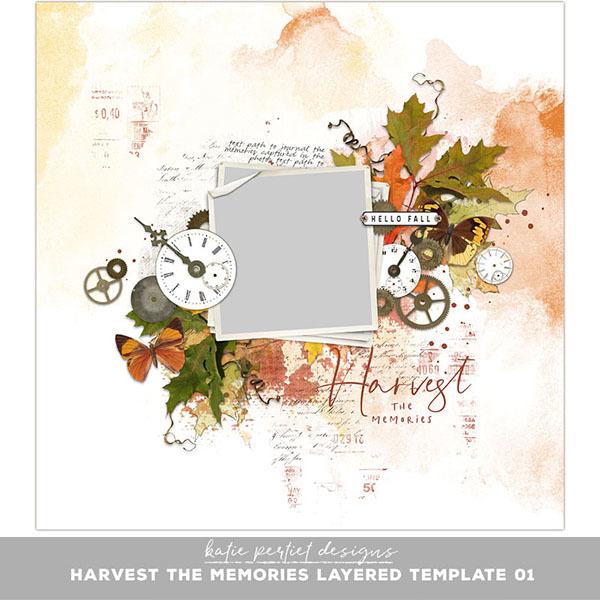 Harvest the Memories Layered Template 01 Digital Art - Digital Scrapbooking Kits