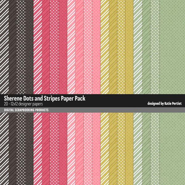 Sherene Dots and Stripes Paper Pack Digital Art - Digital Scrapbooking Kits