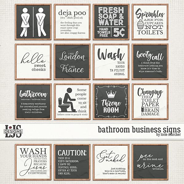 Bathroom Business Signs Digital Art - Digital Scrapbooking Kits