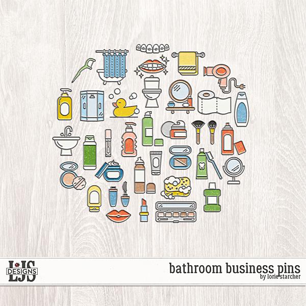Bathroom Business Pins Digital Art - Digital Scrapbooking Kits