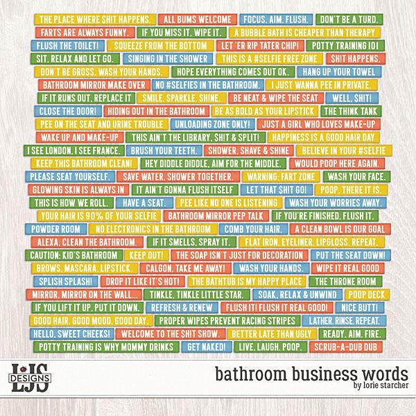 Bathroom Business Words Digital Art - Digital Scrapbooking Kits