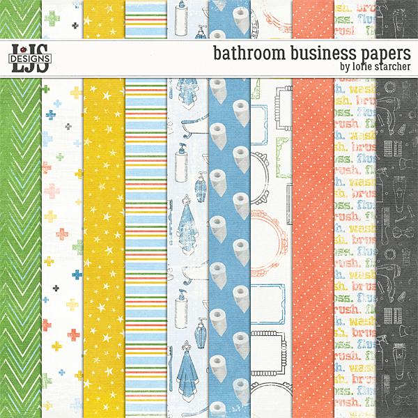 Bathroom Business Papers Digital Art - Digital Scrapbooking Kits